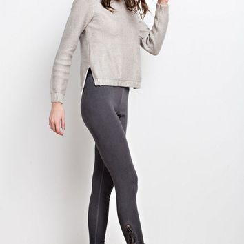 Lace Up Oil Washed Leggings