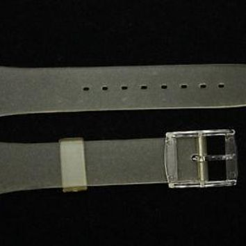 12mm Ladies Frosted Replacement Watch Band Strap Clear Buckle fits SWATCH watch