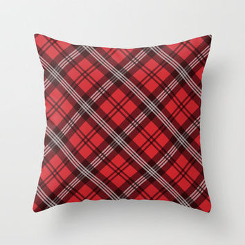 Scottish Plaid (Tartan) - Red Throw Pillow by ts55 | Society6