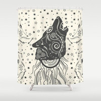 Boho Wolf Shower Curtain