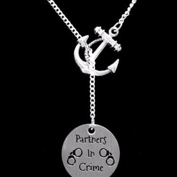 Partners In Crime Gift Sister Best Friend Mother Daughter Anchor Lariat Necklace