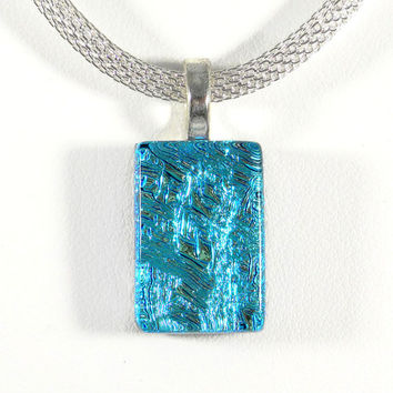 Aqua Blue Dichroic Glass Necklace, Handmade Fused Glass Jewelry, Turquoise