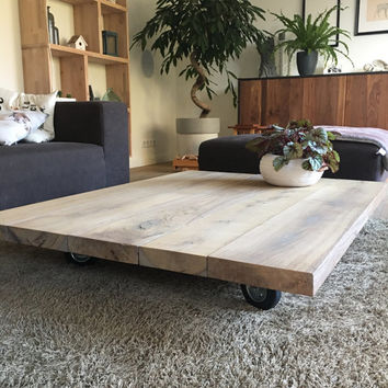 Coffee table oak beams/shelves