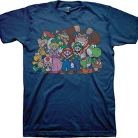 Nintendo Super Mario Group Shot Adult Navy T-Shirt