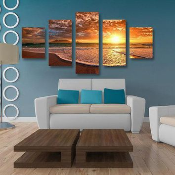 5PCS Sea Beach Unframed Oil Painting Modern Landscape Canvas Wall Art Living Room Home Decor