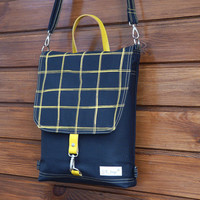 Black Backpack Mini canvas UNISEX 2in1 rucksack SCREEN PRINT mustard plaid Festival Backpack Cross body bag 2015 new design