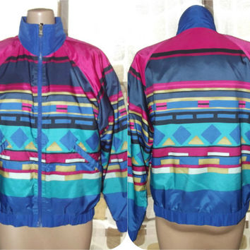 Vintage 80s Geometric Aztec Colorblock Reversible Windbreaker Jacket HEAD Lightweight Coat