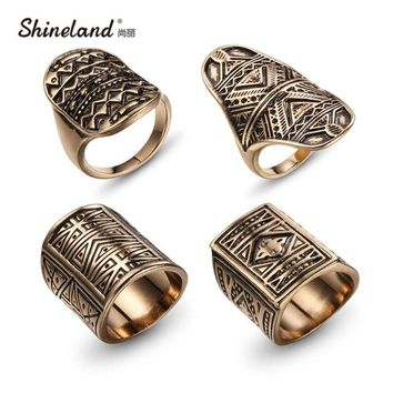 New Bohemian Brand Design Vintage Ring Set Antique Gold Silver Plated Statement Rings For Women/Men 4 PCS  Punk Boho Ring Sets