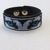 Black Leather Cuff Bracelet - Adjustable Bracelet -Wolf Bracelet - Cuff Bracelet - Black Leather - Leather Jewelry - Blue Eyes Wolf - Gifts