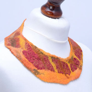 Nuno felt, fiber art, collar necklace, wool & silk fabric, orange, maroon, burgundy and crimson, wearable art, wide and soft, natural [N45]