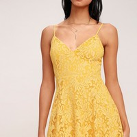 Magnolia Blossom Golden Yellow Lace Skater Dress