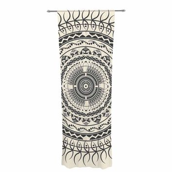 "Famenxt ""Silk Boho Mandala"" Beige Black Pattern Ethnic Illustration Digital Decorative Sheer Curtain"