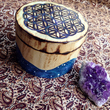 Galaxy Alter Box Hand Painted Galaxy Art Flower of Life Box Flower of Life Art Wood Burn Sacred Geometry Amethyst Geode Healing Crystals