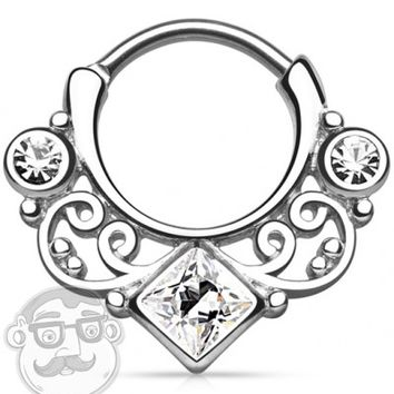 16G Swirly Lace Square Clear CZ Gem Brass Septum Clicker