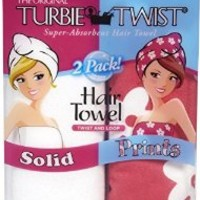 Turbie Twist Solid Microfiber Hair Towel, 2 pk