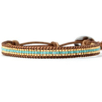 Seed Bead Leather Wrap Bracelet Turquoise and Gold Tone