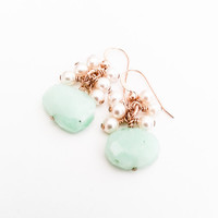 Chrysoprase Earrings, Pearl Earrings, Gold, Dangle Earrings, Bohemian Jewelry,  Free USA Shipping