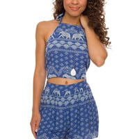 Lauren Elephant Crop Top - Blue