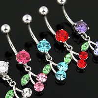Belly Ring-CZ Cherry