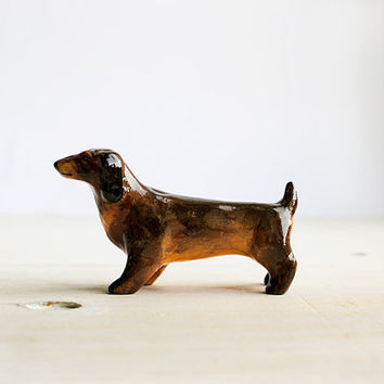 Animal Totem Friendly Dachshund Dog, dog totem tiny figurine, brown home decor, tiny pocket zoo, for dachshund breed dogs lovers