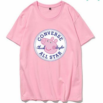 CONVERSE 2018 couple models men and women fashion pig page t shirt adult short sleeve pink