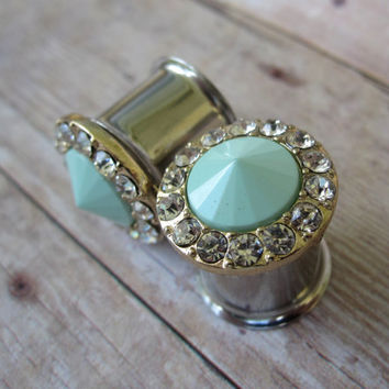 "One of a Kind Pair of Seafoam Point & Rhinestone Plugs - Mint - Handmade Unique Girly Gauges - 0g, 00g, 7/16"", 1/2"" (8mm, 10mm, 11mm, 12mm)"