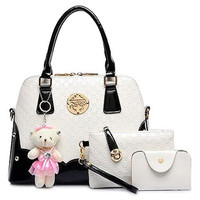Leather Women's Color Block Tote Bag With Bear Pendant, Clutch & Wallet