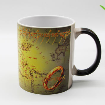 New design Middle Earth Map Lord of The Rings Color changing Morph Magic Mug Heat Sensitive Ceramic Tea cups