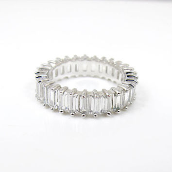 Sterling Silver CZ Eternity Band Ring. Cubic Zirconia Baguettes Wedding Anniversary Ring. Size 6