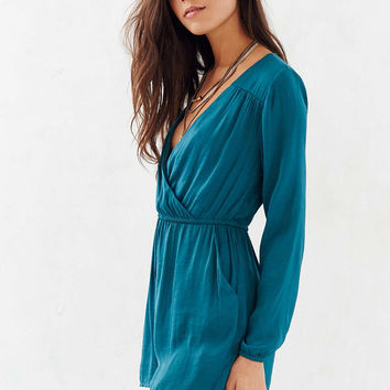 Alice & UO Demy Long-Sleeve Satin Romper - Urban Outfitters