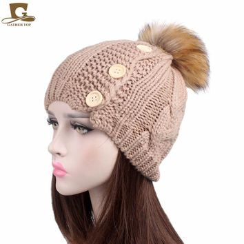 NEW Women's  Knit Beanie with wood Buttons cable knitted cap Pom Pom Winter Hat
