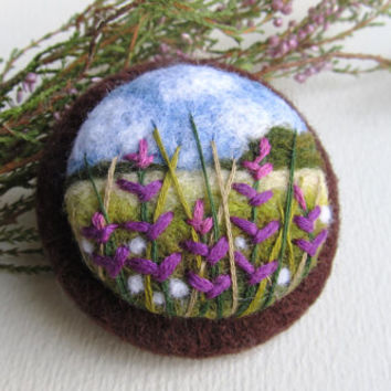 Needle felted brooch with embroidery,Wool felt brooch,Savlia flower brooch,Felted jewelry,Gift ideas,For her,felted landscapes