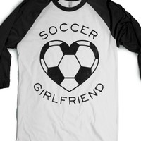 Soccer Girlfriend (Baseball Tee)-Unisex White/Black T-Shirt