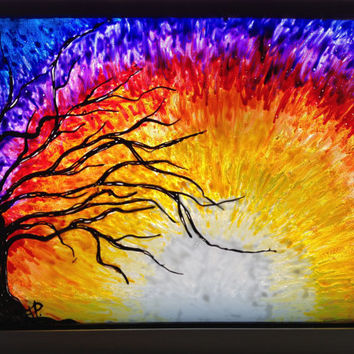 Tree at sunset (glass painting) has a stained look