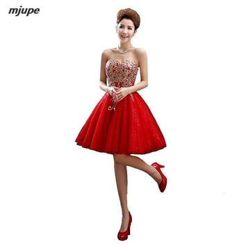 strapless embroidery prom dresses bandage short prom dresses for women gowns