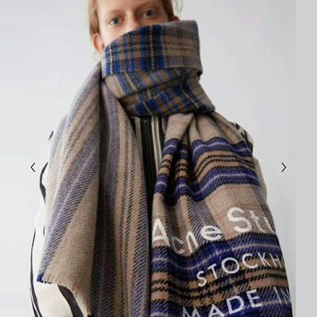 """Acne Studios"" Stylish Women Men Personality Plaid Cashmere Cape Tassel Scarf Scarves Shawl Accessories"