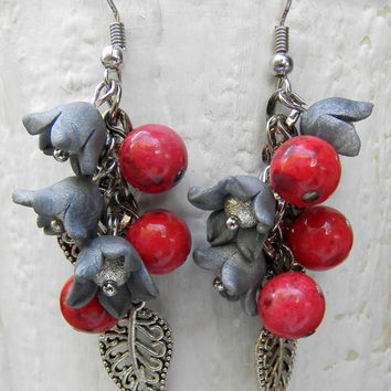 Red coral bracelet and earrings -Flower jewelry set - Lily of the valley -Handmade jewelry
