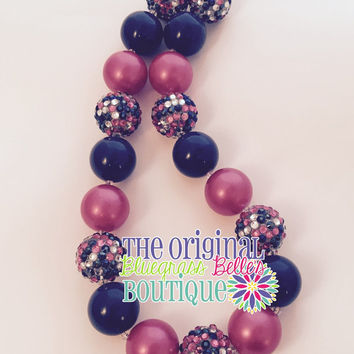 Hot pink and navy bubblegum necklace