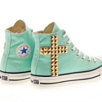 DCCK1IN studded converse aruba blue converse gold cross by customduo on etsy