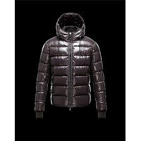 Moncler Aubert Hooded Neckline Dark brown Jackets Nylon/Polyamid Mens 41224644PX