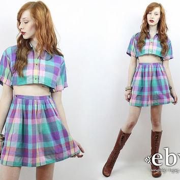 Vintage 90s Purple Plaid Crop Top + Skirt Outfit XS S Two Piece Set Two Piece Outfit Separates Cropped Top High Waisted Skirt Matching Set