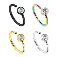 BodyJ4You® Nose Ring Hoop 20G CZ Set Stainless Steel 4 Pieces Body Jewelry Piercing