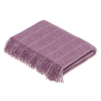 Merino Lambswool Pinstripe Lilac Throw Blanket