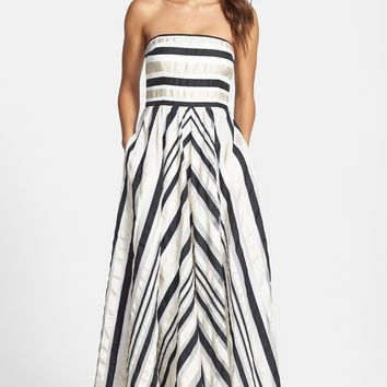 Adrianna Papell Ribbon Stripe Strapless Dress