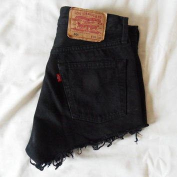 Vintage Levis High Waisted Cutoff Black Denim Shorts Jeans / xs s m l xl xxl