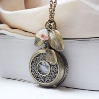 Filigree Watch Locket Necklace with leaf