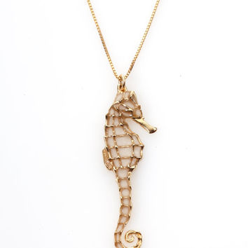 Handcrafted Nautical Jewelry Seahorse Necklace in Gold Pearl Color - FREE SHIPPING