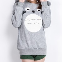 MapleClan 3D Cute Totoro Printed Long Sleeve Pullover Fleece
