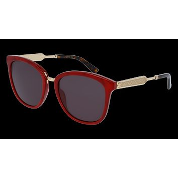 Gucci - GG0073S-004 Red Gold Sunglasses / Grey  Lenses