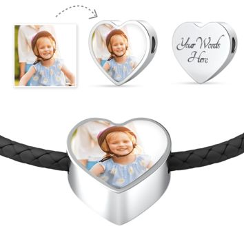 Personalized Photo Create-Your-Own Leather Woven Heart Charm Bracelet